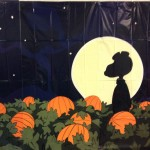 Snoopy in Pumpkin Patch with Moon in Background